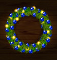 christmas wreath isolated on wooden background vector image vector image