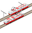 city trams in isometric view vector image