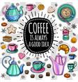 coffee trendy set vector image vector image