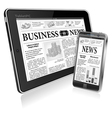 Concept - Digital News Tablet PC and Smartphone vector image vector image