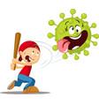 detonate corona virus - funny vector image