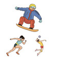 Different kinds of sports cartoon icons in set