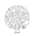 drinks in circle - concept line vector image vector image