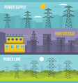electrical tower banner horizontal set flat style vector image