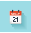 february 21 flat daily calendar icon date vector image vector image