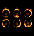 fire rings burning round frames borders vector image vector image