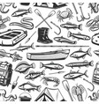 fishing gear and seafood pattern vector image vector image