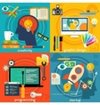 Flat concept banners Creativity programming vector image vector image