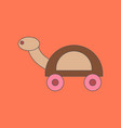 Flat icon on background kids toy turtle