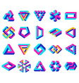 geometric impossible shapes paradox triangle vector image vector image