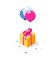 gift box with ribbon on ballons gift symbol vector image vector image