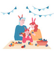 grandmother mother and little girl wearing rabbit vector image
