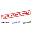 grunge new year s sale scratched rectangle stamps vector image vector image
