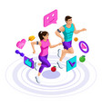isometric girl and man run jump couple on a run vector image vector image