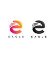 letter e eagle logo design vector image vector image