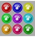 Lock sign icon Locker symbol Set colur buttons vector image