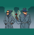 man and woman secret agents spies vector image vector image