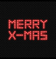 merry x-mas inscription made of led lights vector image vector image