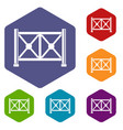 metal fence icons set hexagon vector image vector image