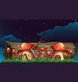 mushroom houses in garden at night vector image vector image