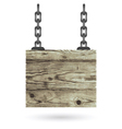 Old color wooden board with chain vector image