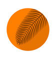 palm branch flat icon with long shadow on orange vector image