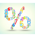 Percent sign colored font from numbers vector image
