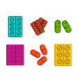 pills icon set color outline style vector image vector image