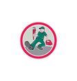 Plumber Monkey Wrench Toolbox Circle Cartoon vector image vector image