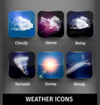 Realistic Square Weather Icon Set vector image