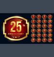 red anniversary golden labels big set vector image vector image