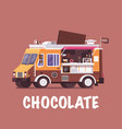 retro chocolate food truck vector image vector image