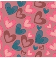 Seamless pattern with cartoon hearts vector image