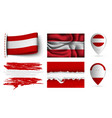 set of austria flags collection isolated vector image