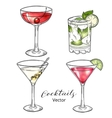 Set of hand drawn alcoholic cocktails isolated on