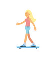 smiling teen girl scateboarding active lifestyle vector image vector image