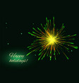yellow green fireworks greeting background copy vector image vector image
