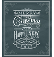 Christmas new year vintage label frame chalk board vector image