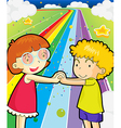 A colorful road with a girl and a boy holding vector image vector image