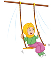 A girl at the swing vector image vector image
