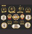 anniversary golden laurel wreath and badges 40 vector image vector image
