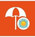 beach umbrella summer vacation sun splashes label vector image vector image