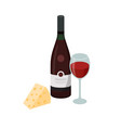 bottle wine glass wine and cheese vector image vector image