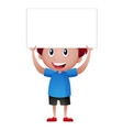 boy in blue shirt holding white sign vector image vector image