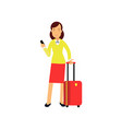 businesswoman in red skirt and yellow blouse vector image