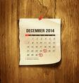 Calendar December 2014 vector image vector image