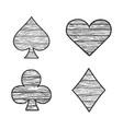 card suits set sketch vector image