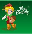 cartoon an elf for christmas theme vector image vector image