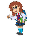 cartoon girl in school uniform vector image