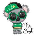 cartoon koala with sun glasses vector image vector image